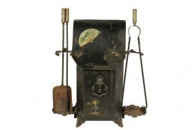 Late Victorian Coal Hod With Tools - Unusual Aesthetic