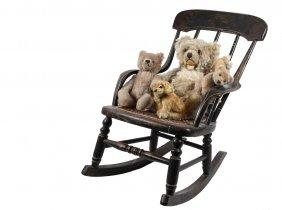 Child's Rocker & (4) Steiff Toy Animals - 19th C