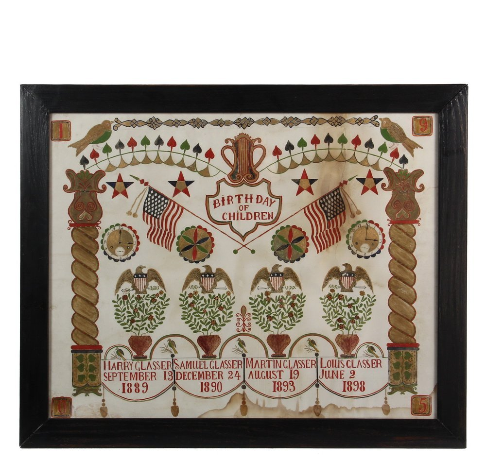 FAMILY BIRTH REGISTER - 1905 Hand Painted Registry for