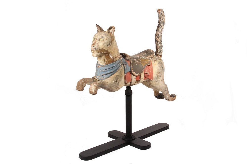 CAROUSEL FIGURE - Floor Mount Running Cat, circa 1905,