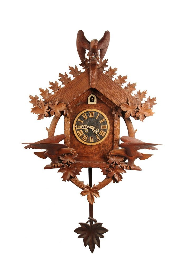 FOLK ART CUCKOO CLOCK - Black Forest Style Cuckoo Clock