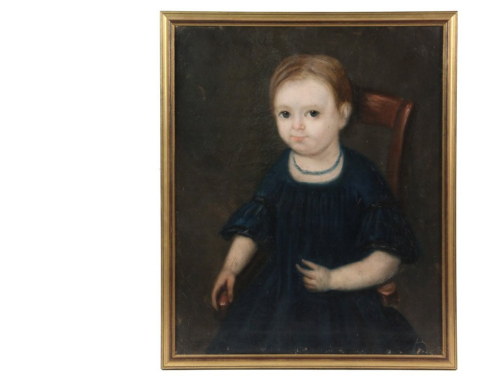 LEGENVRE (19th c. French) - Naive Portrait of a Young