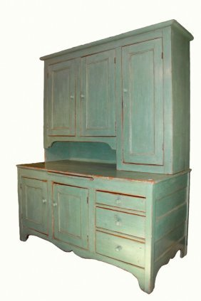 Large Two-part Green Painted Cabinet - Kitchen Cabinet