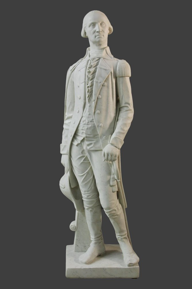 AN IMPORTANT FULL-LENGTH MARBLE STATUE OF GEORGE
