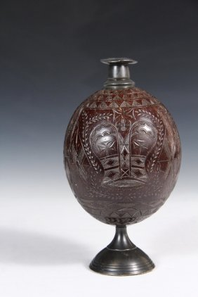 Troyal Navy Sailor Carved Coconut Flask - Circa 1800