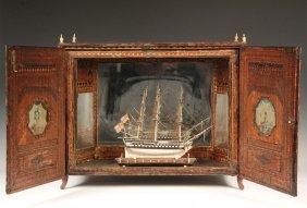 Rare Napoleonic Wars Cased Prisoner-of-war Ship Model -