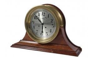 Ship's Clock - Brass Cased, In Custom Mahogany Stand,