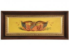 Patriotic Plaque - Framed Panel Decorated With Eagle