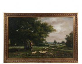 Naive Pastoral Painting - Sheep With Shepherd Under An