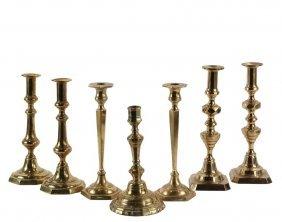 (3 Pair) & (1) Single Early Brass Candlesticks - Pair