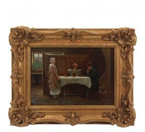 A. Russell (?) - Genre Scene In An English Tavern, A