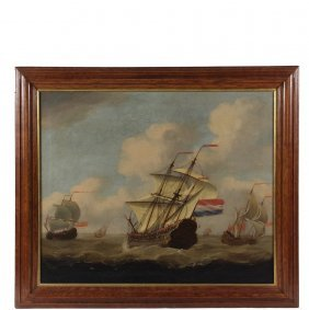 Dutch Marine Painting - Early 18th C. Sea Battle With