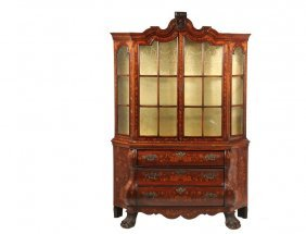 Dutch Display Cabinet - Two-part Marquetry Bookcase Top