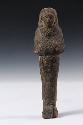 Egyptian Wooden Sculpture - Wooden Funerary Ushabti Or