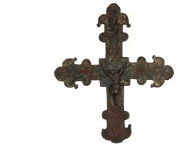 Very Early French Gilt Bronze Cross - Medieval