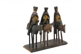 Spanish Colonial Religious Carving - Los Tres Reyes