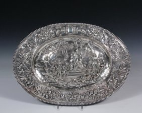 Silver Tray - 18th Century Continental Silver Oval