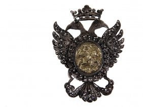 Hungarian Silver Pendant With Early Gold Medallion -
