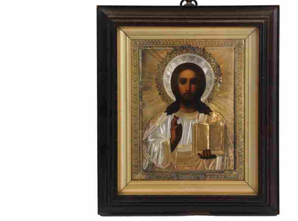 FRAMED RUSSIAN ICON - Christ Pantocrator, oil on panel