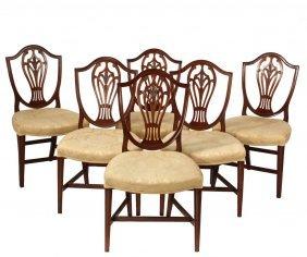 (set Of 6) Dining Chairs - Period Hepplewhite Mahogany