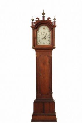 Tall Clock - 18th C. Mahogany Case Clock With Brass