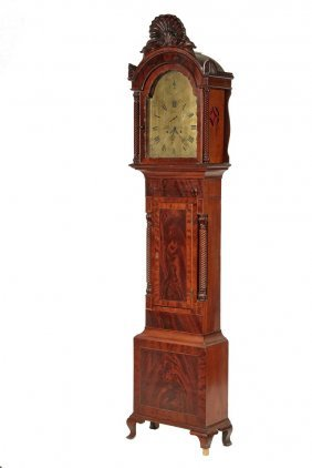 Tall Case Clock - English Chippendale Mahogany Clock By