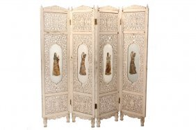 Continental Indian Folding Screen - Carved And