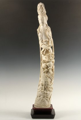Chinese Ivory Tusk Carving - Magnificent 19th C Chinese