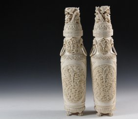Pair Of Chinese Ivory Covered Urns - Late 19th C.