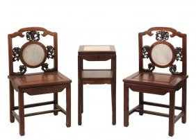 Pair Of Chinese Chairs & Matching Stand - Rosewood
