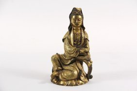 Chinese Bronze Sculpture - Gilt Bronze Quanyin, Leaning