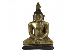 Asian Bronze Sculpture - Rare Gilded Bronze Seated