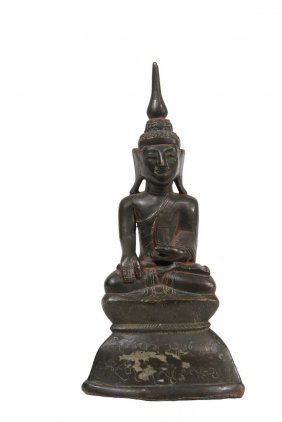 Asian Bronze Sculpture - Bronze Seated Buddha In Single