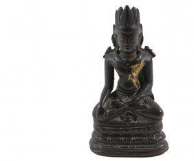 Bronze Buddha - Antique Gilt Bronze Buddha, Seated In