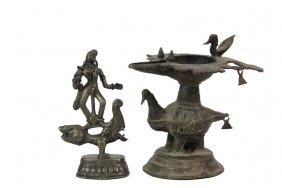 (2) Small Continental Indian Bronzes - Both 19th C. Or