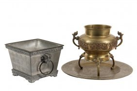 (2 Pcs) Chinese Metalwork - Both 19th C., Including: