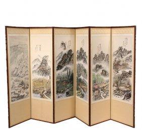 Six-fold Chinese Folding Screen - Early 20th C. Folding
