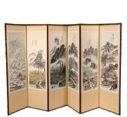 SIXFOLD CHINESE FOLDING SCREEN  Early 20th c Folding