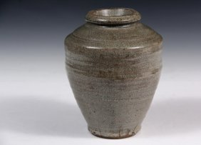 Chinese Pottery Vase - 19th C. Qing Celadon Earthenware