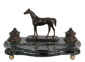 French Bronze And Marble Inkwell - Featuring A Standing