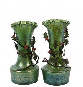 Pair Of Art Nouveau Loetz Glass Vases - With Applied