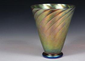 Steuben Aurene Flower Vase - Marked Aurene '3173'
