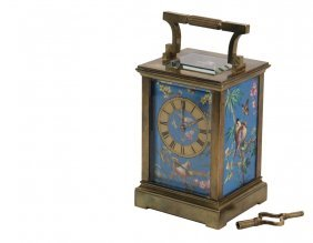 Fine Painted Porcelain And Bronze Carriage Clock -