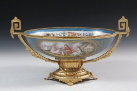 Bronze Mounted Bowl - Oval Sevres Style Hand Painted