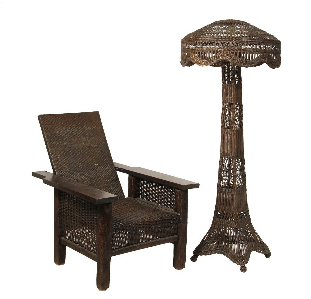 ARTS & CRAFTS WICKER MORRIS CHAIR AND FLOOR LAMP WITH