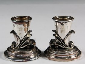Candlesticks - Pair Of Georg Jensen Sterling Silver