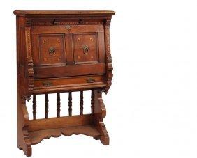 Walnut Victorian Fall Front Desk - English Aesthetic