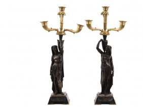 Pair Of Empire Candelabrum - French Egyptian Revival