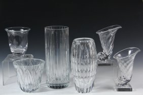 Crystal Vases - Group Of (6) Clear Crystal Vases,