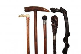 (5) Fine Walking Sticks - All 19th C., Including: